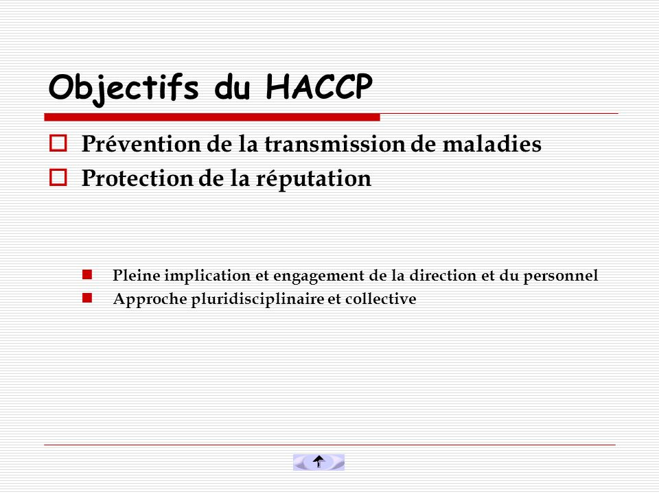 Objectifs du HACCP Prévention de la transmission de maladies
