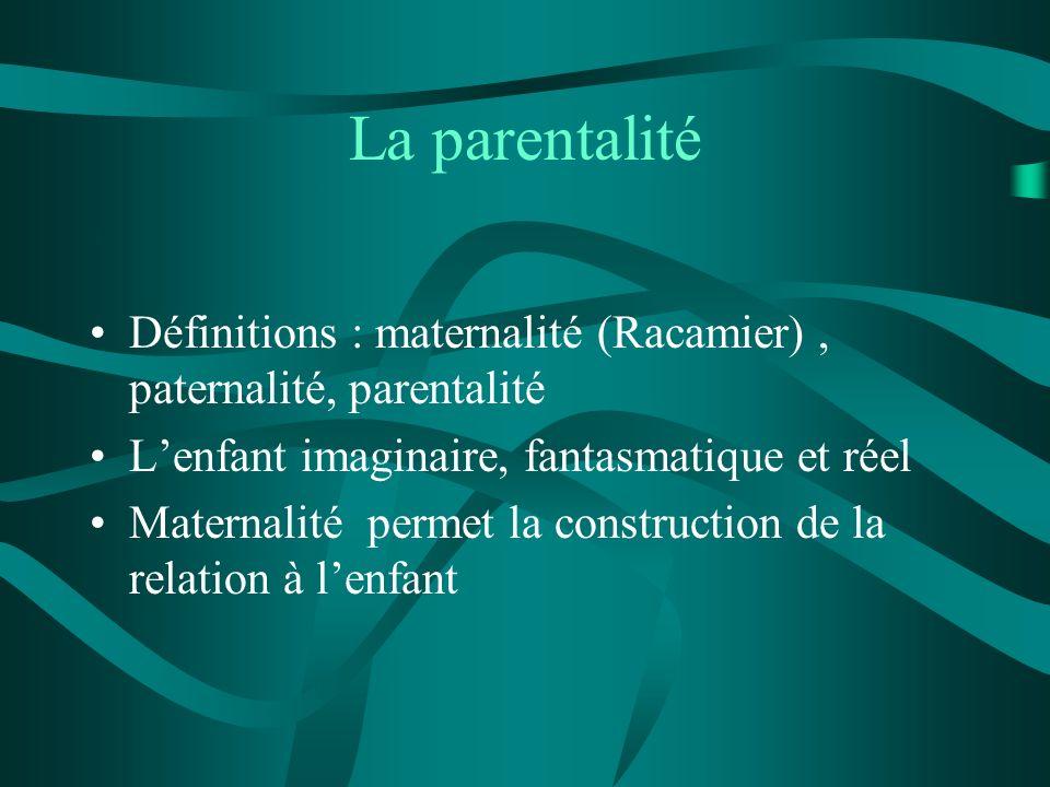 La parentalité Définitions : maternalité (Racamier) , paternalité, parentalité. L'enfant imaginaire, fantasmatique et réel.