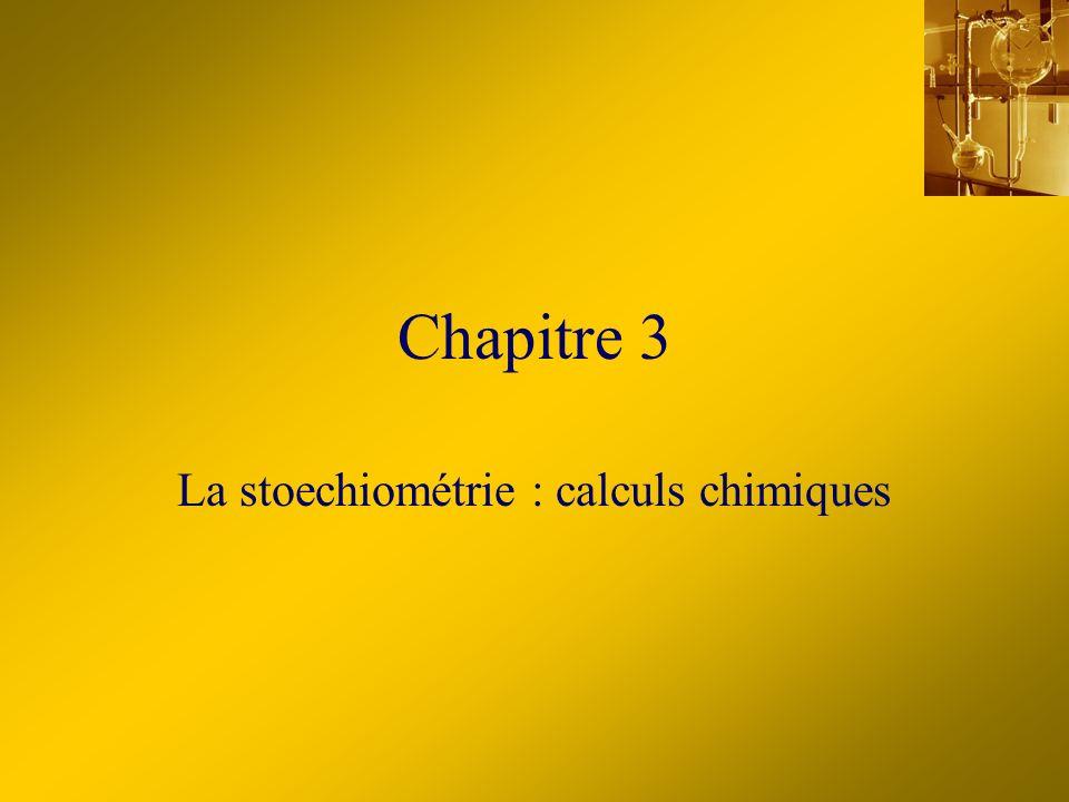 La stoechiométrie : calculs chimiques