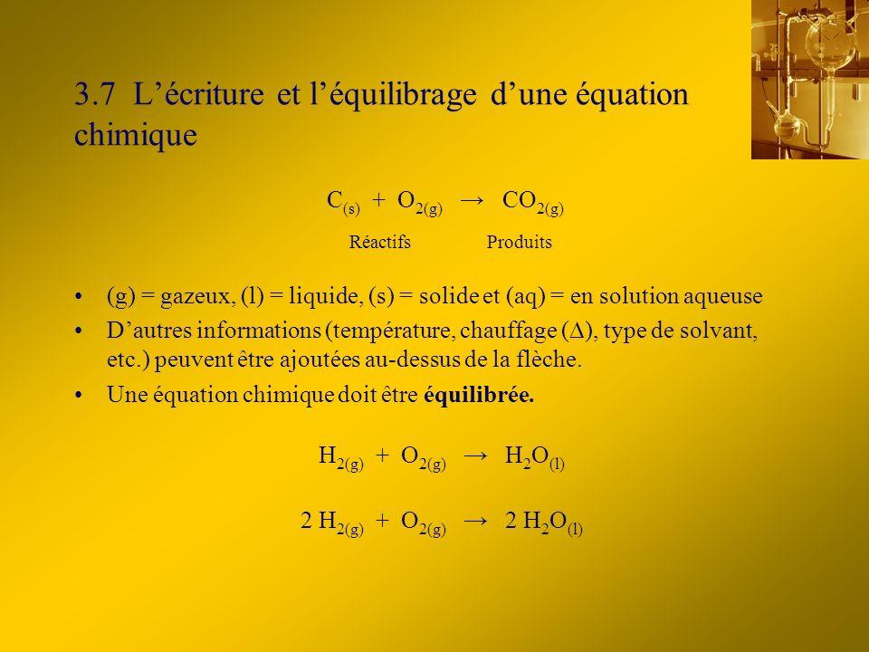 3.7 L'écriture et l'équilibrage d'une équation chimique