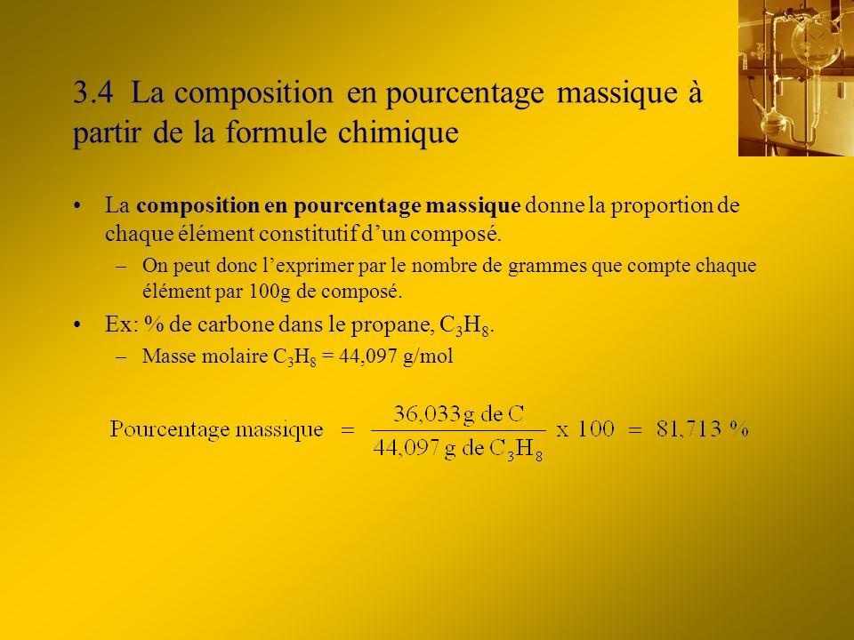 3.4 La composition en pourcentage massique à partir de la formule chimique