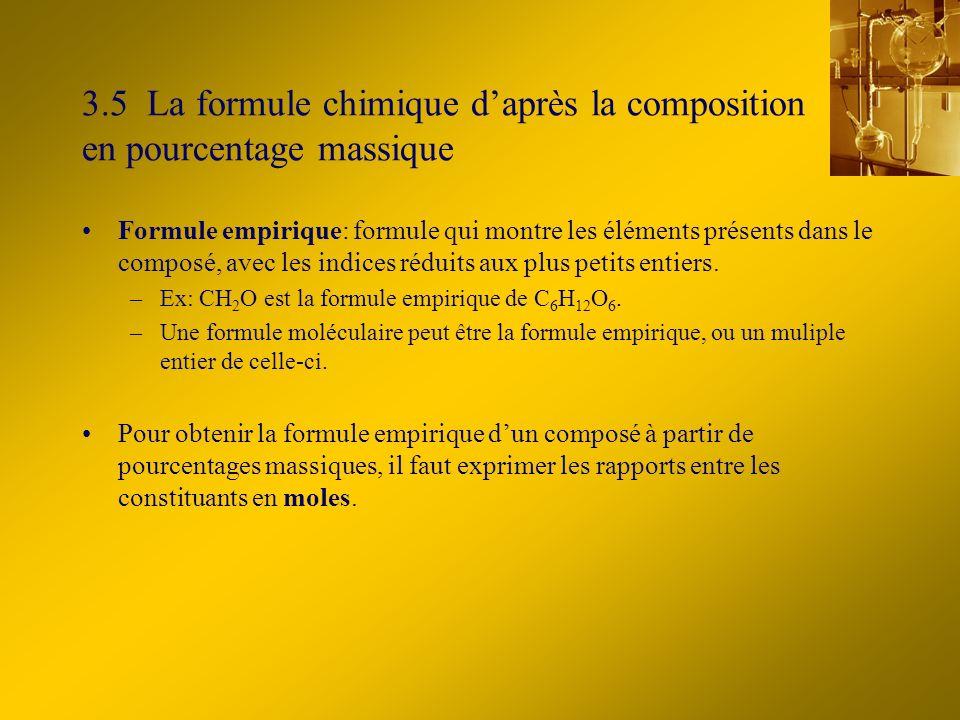 3.5 La formule chimique d'après la composition en pourcentage massique