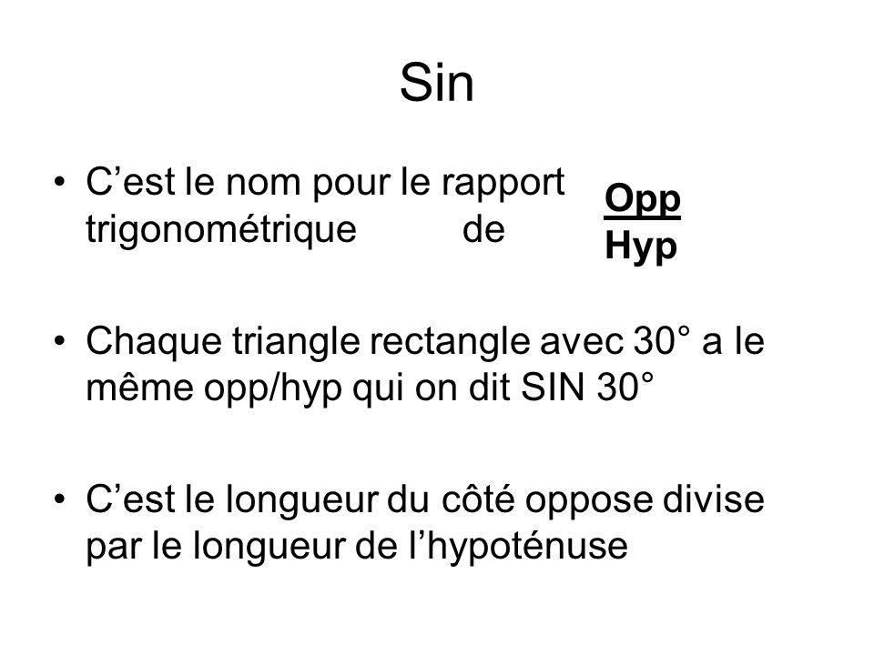 Sin C'est le nom pour le rapport trigonométrique de Opp Hyp