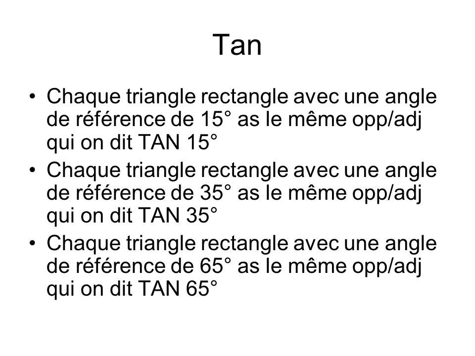 Tan Chaque triangle rectangle avec une angle de référence de 15° as le même opp/adj qui on dit TAN 15°