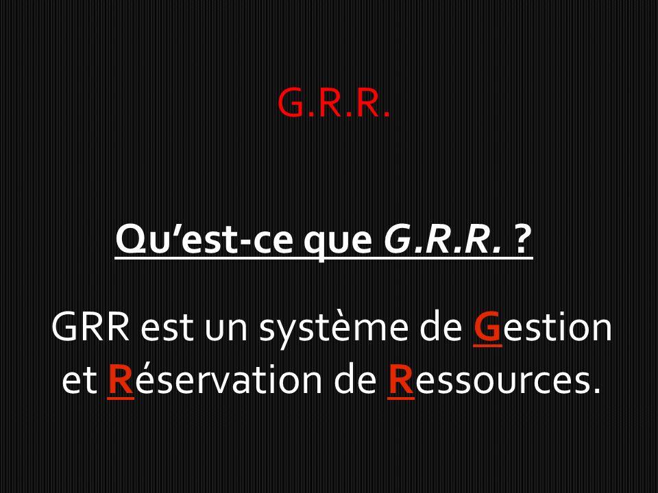 GRR est un système de Gestion et Réservation de Ressources.