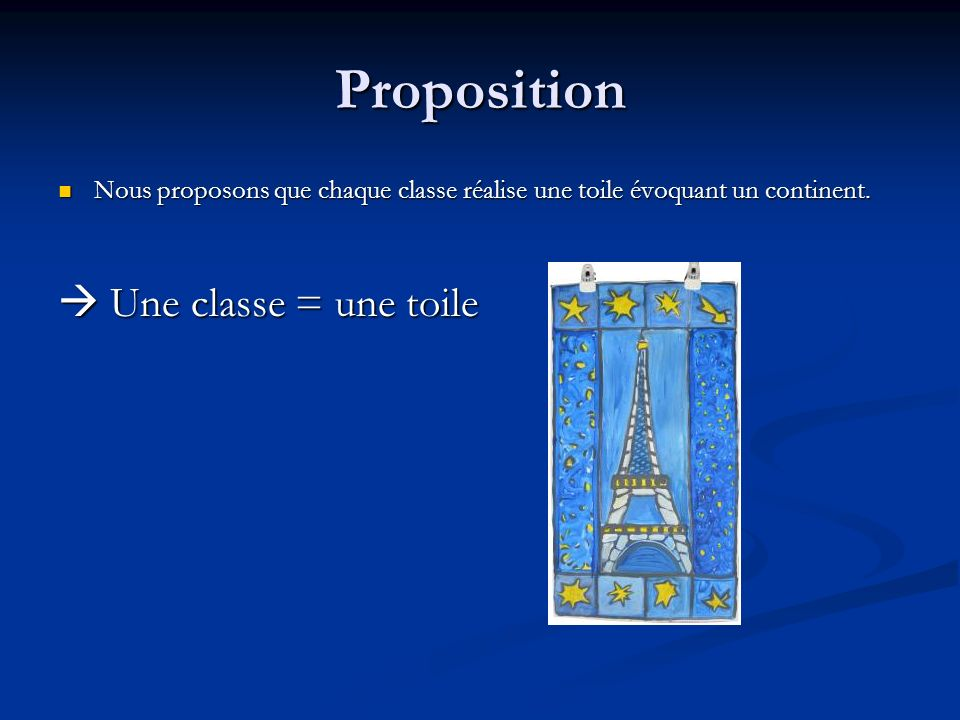 Proposition  Une classe = une toile