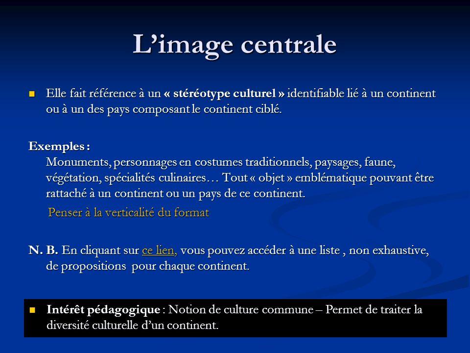 L'image centrale Elle fait référence à un « stéréotype culturel » identifiable lié à un continent ou à un des pays composant le continent ciblé.