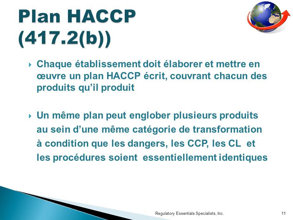 Plan HACCP (417.2(b)) Chaque établissement doit élaborer et mettre en œuvre un plan HACCP écrit, couvrant chacun des produits qu'il produit.