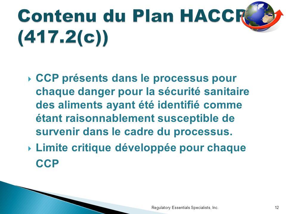 Contenu du Plan HACCP (417.2(c))