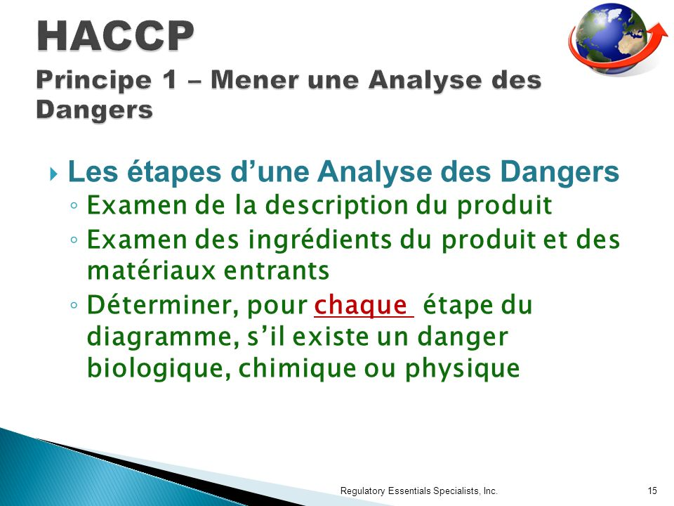 HACCP Principe 1 – Mener une Analyse des Dangers