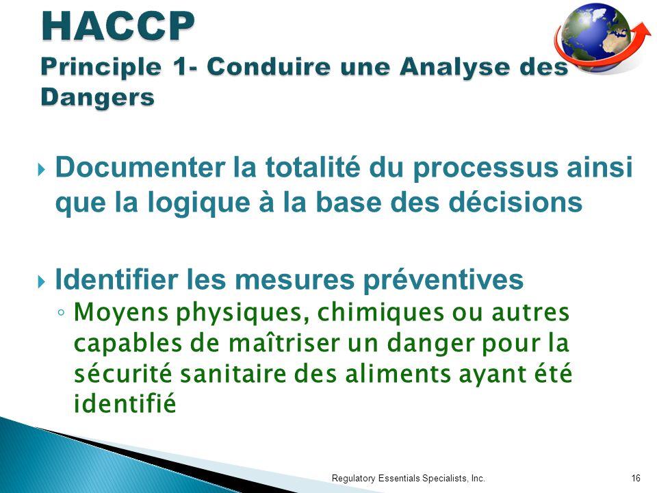 HACCP Principle 1- Conduire une Analyse des Dangers