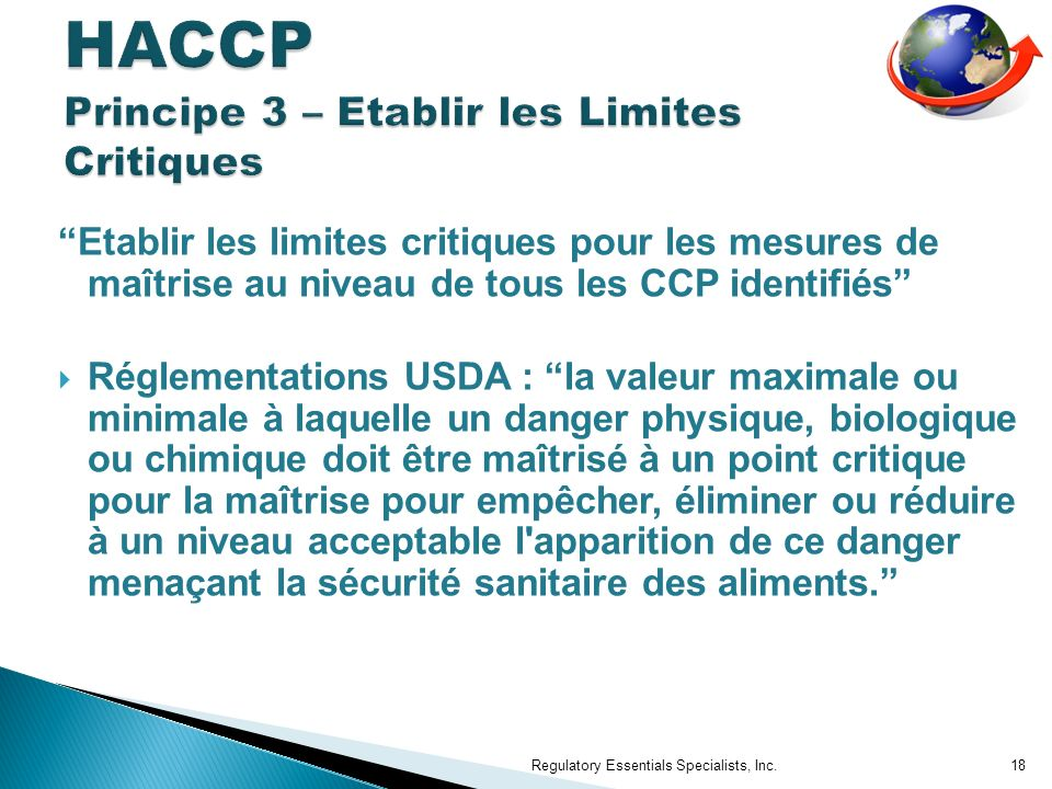 HACCP Principe 3 – Etablir les Limites Critiques