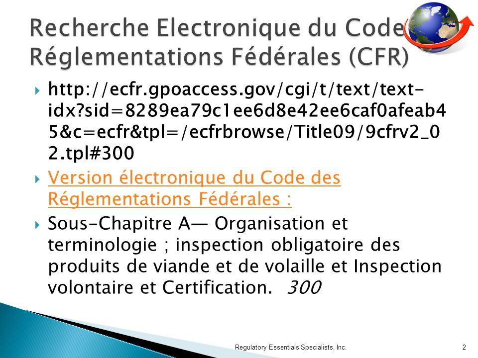 Recherche Electronique du Code de Réglementations Fédérales (CFR)