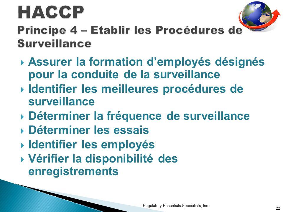 HACCP Principe 4 – Etablir les Procédures de Surveillance