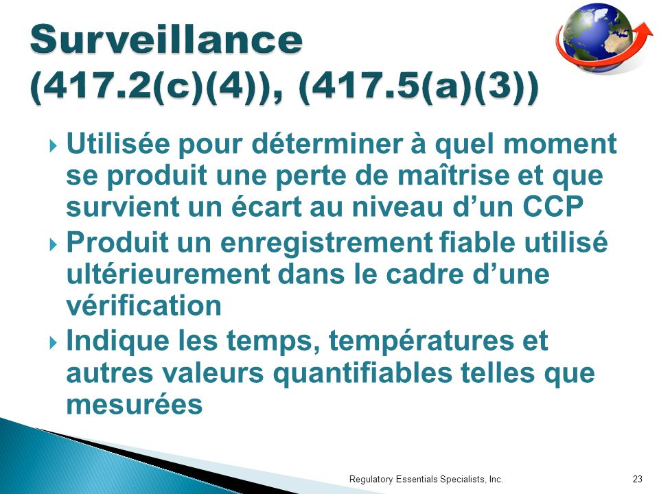 Surveillance (417.2(c)(4)), (417.5(a)(3))