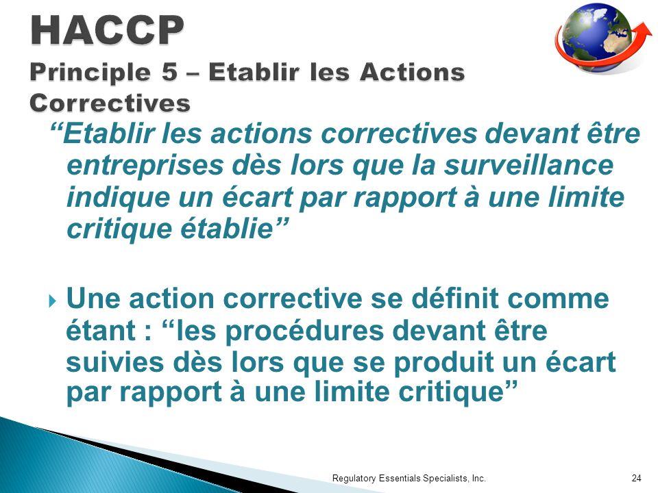HACCP Principle 5 – Etablir les Actions Correctives