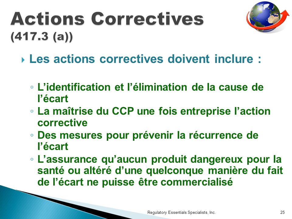 Actions Correctives (417.3 (a))