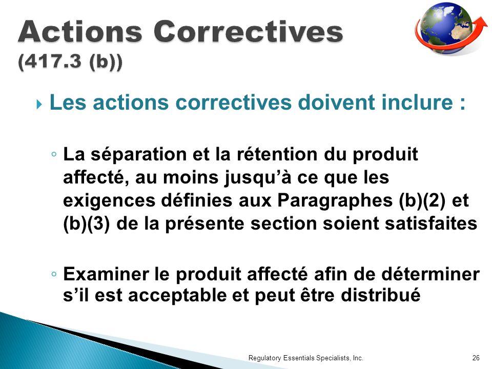 Actions Correctives (417.3 (b))