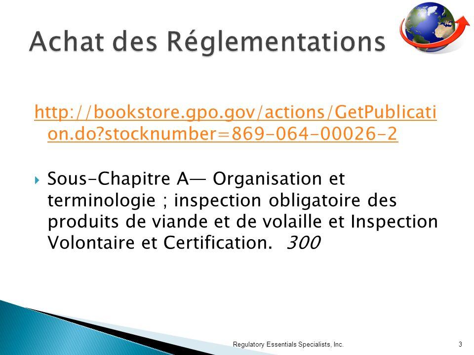 Achat des Réglementations
