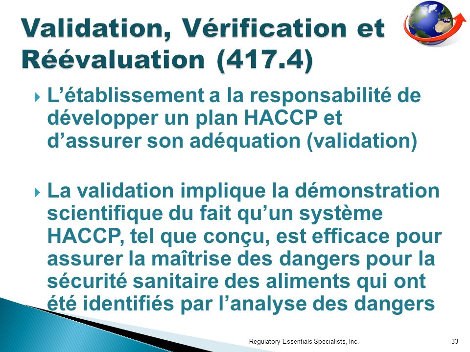 Validation, Vérification et Réévaluation (417.4)