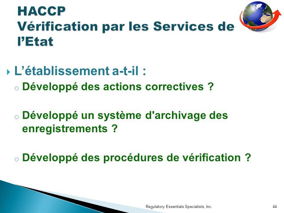 HACCP Vérification par les Services de l'Etat