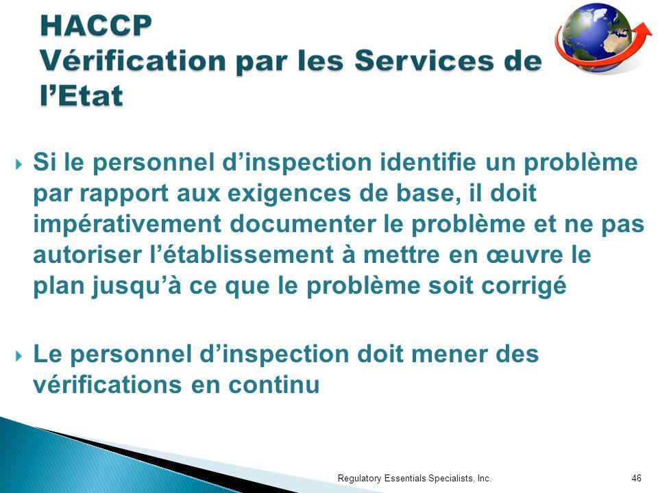 Le personnel d'inspection doit mener des vérifications en continu