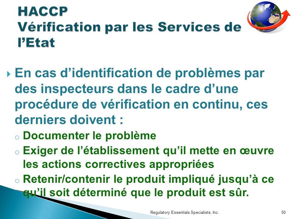 En cas d'identification de problèmes par des inspecteurs dans le cadre d'une procédure de vérification en continu, ces derniers doivent :