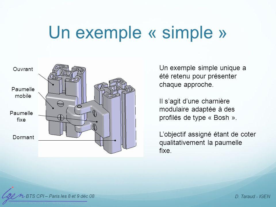 Un exemple « simple » Un exemple simple unique a été retenu pour présenter chaque approche.