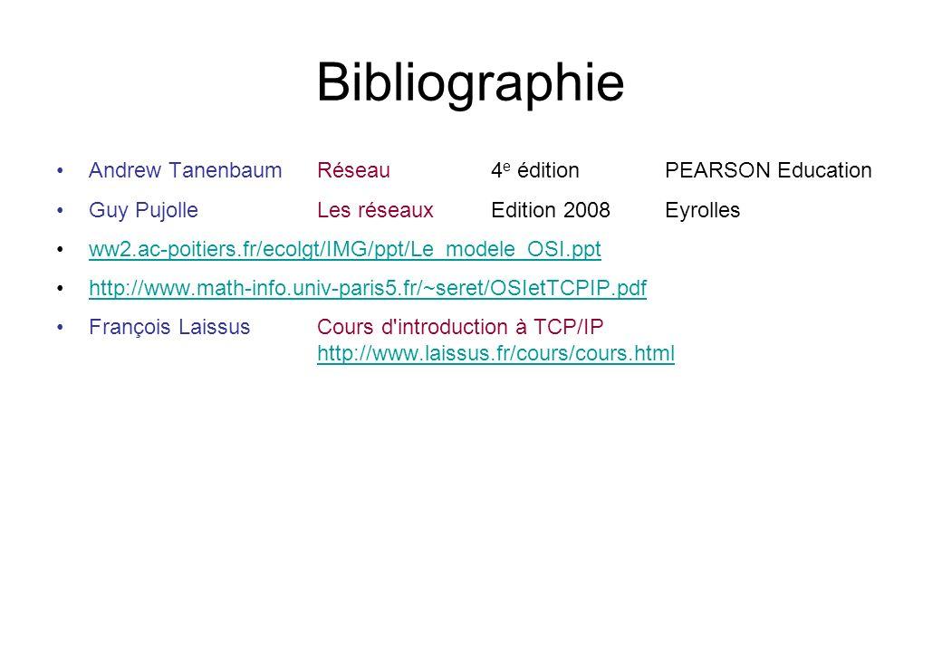 Bibliographie Andrew Tanenbaum Réseau 4e édition PEARSON Education