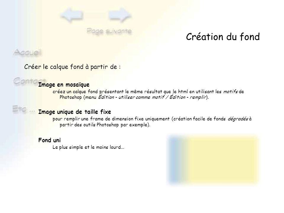 Création du fond Créer le calque fond à partir de : Image en mosaïque