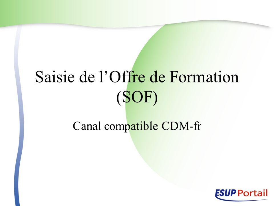 Saisie de l'Offre de Formation (SOF)