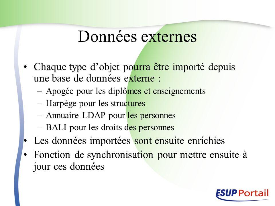 Données externes Chaque type d'objet pourra être importé depuis une base de données externe : Apogée pour les diplômes et enseignements.