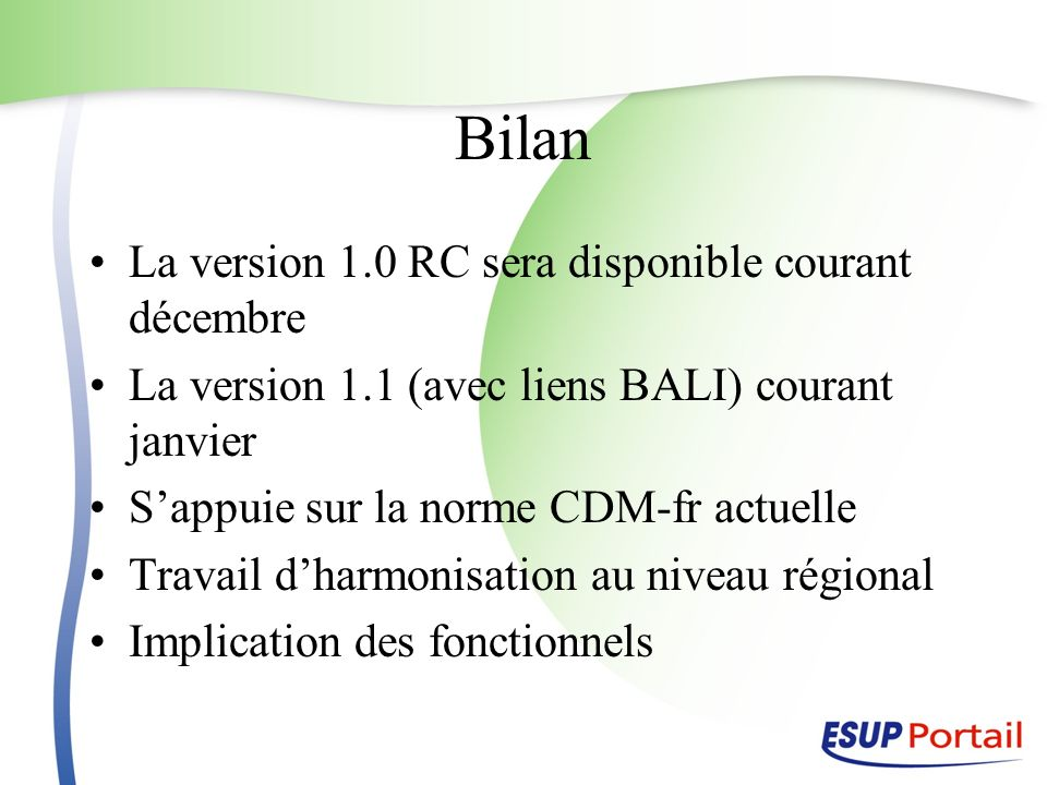 Bilan La version 1.0 RC sera disponible courant décembre