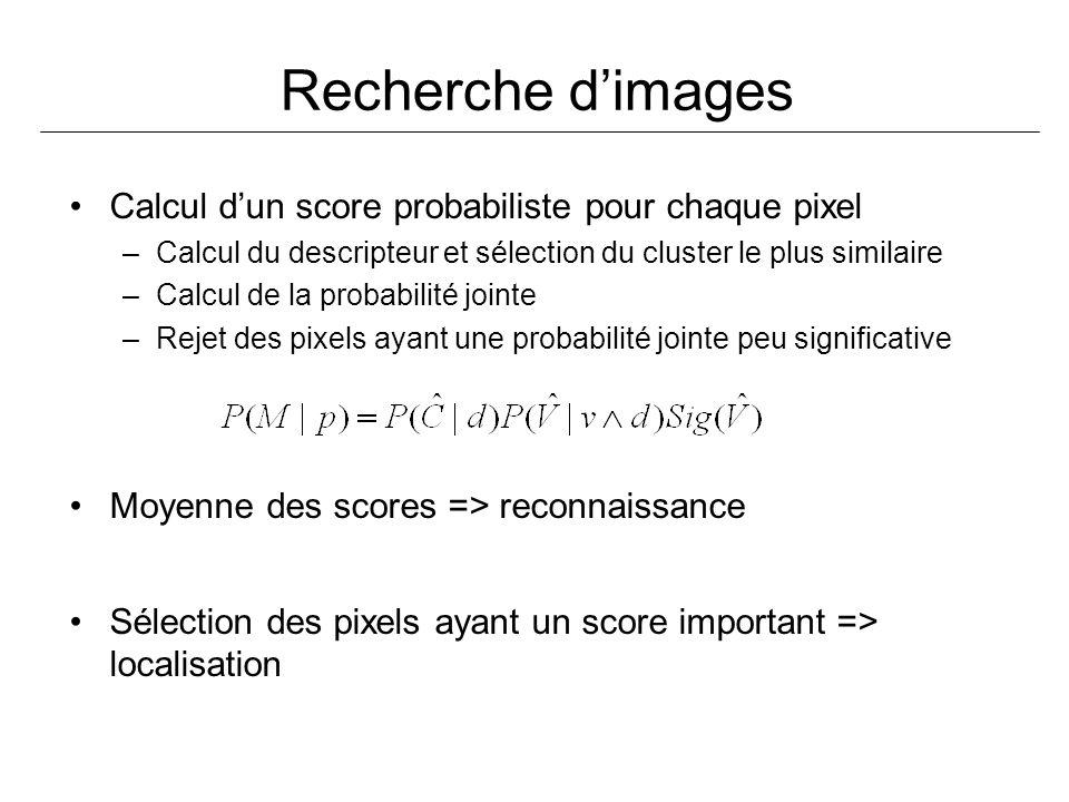 Recherche d'images Calcul d'un score probabiliste pour chaque pixel