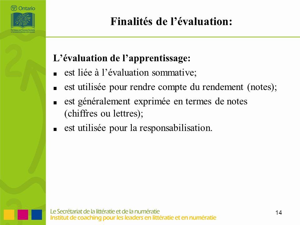 Finalités de l'évaluation: