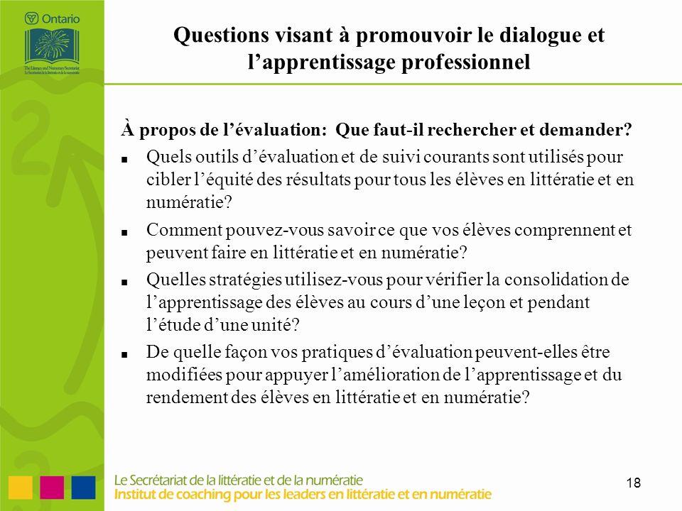 Questions visant à promouvoir le dialogue et l'apprentissage professionnel