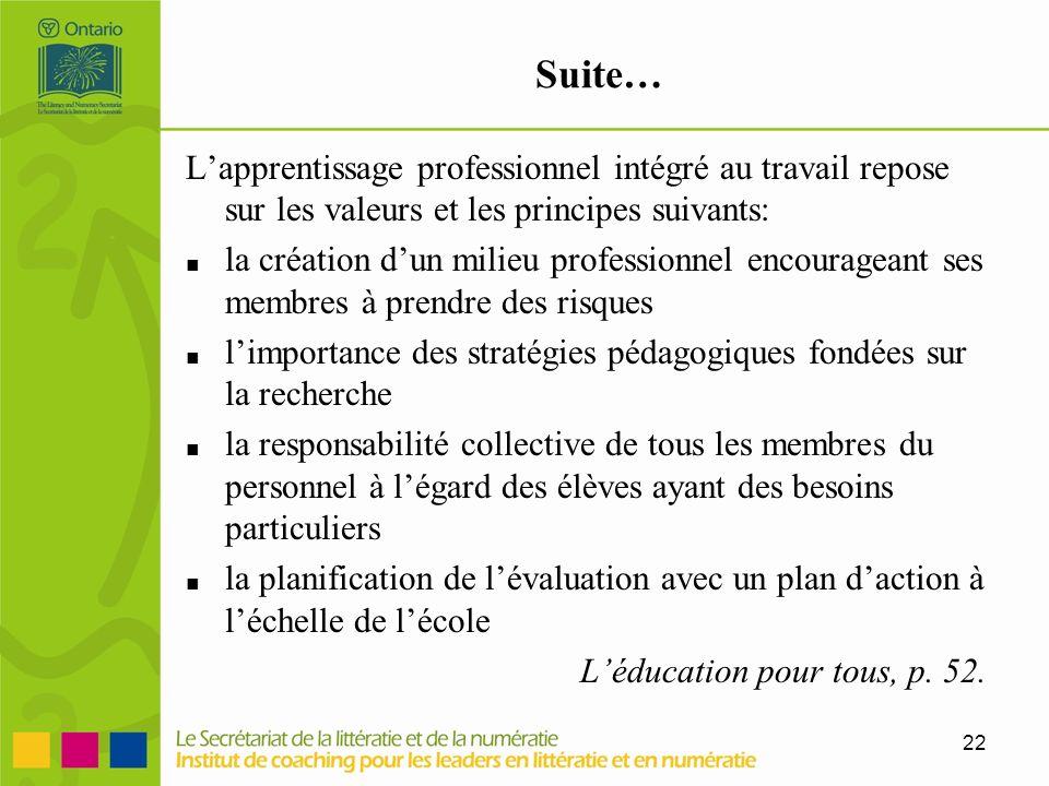 Suite… L'apprentissage professionnel intégré au travail repose sur les valeurs et les principes suivants: