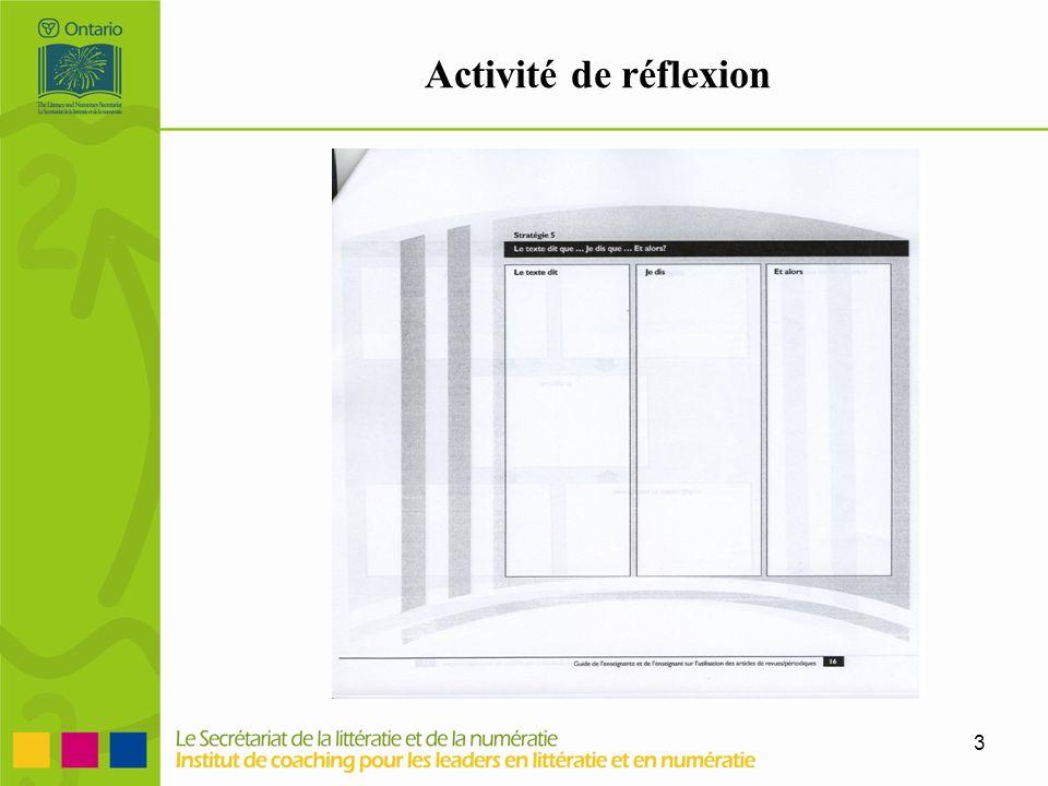 Activité de réflexion Suite à la lecture, Lucie explique l'activité