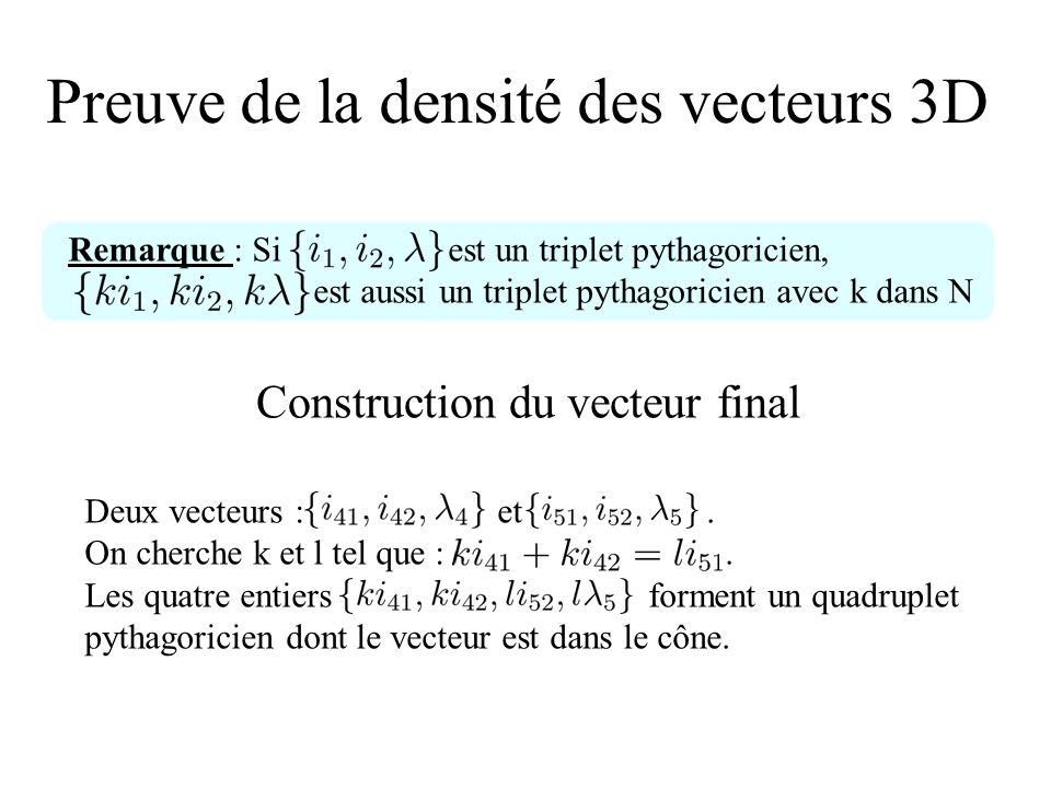 Preuve de la densité des vecteurs 3D