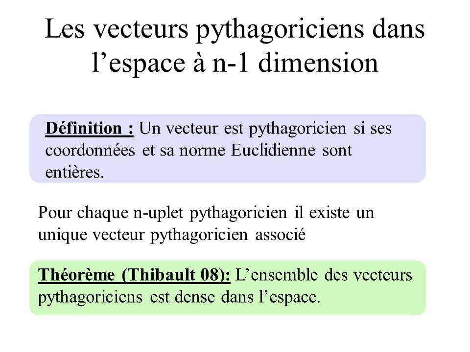 Les vecteurs pythagoriciens dans l'espace à n-1 dimension
