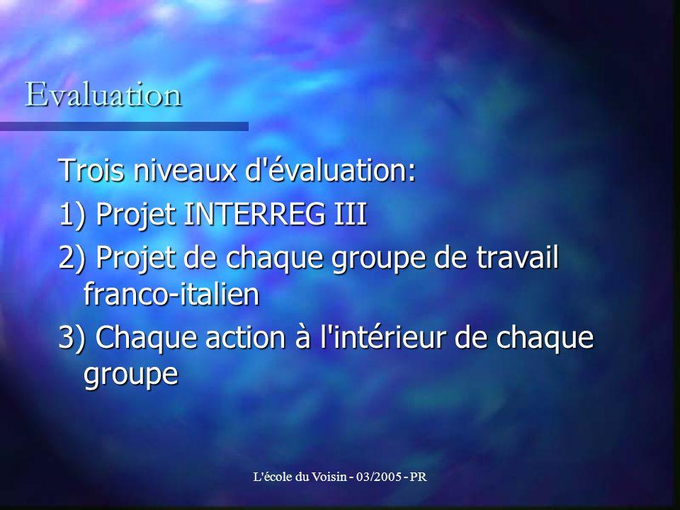 Evaluation Trois niveaux d évaluation: 1) Projet INTERREG III