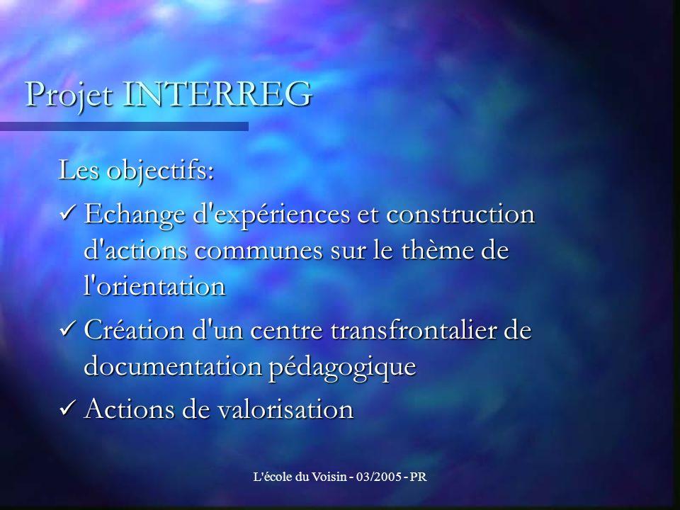 Projet INTERREG Les objectifs: