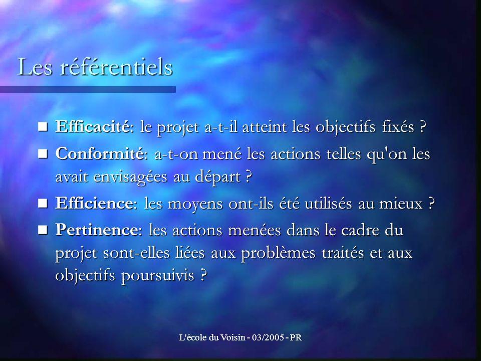 Les référentiels Efficacité: le projet a-t-il atteint les objectifs fixés