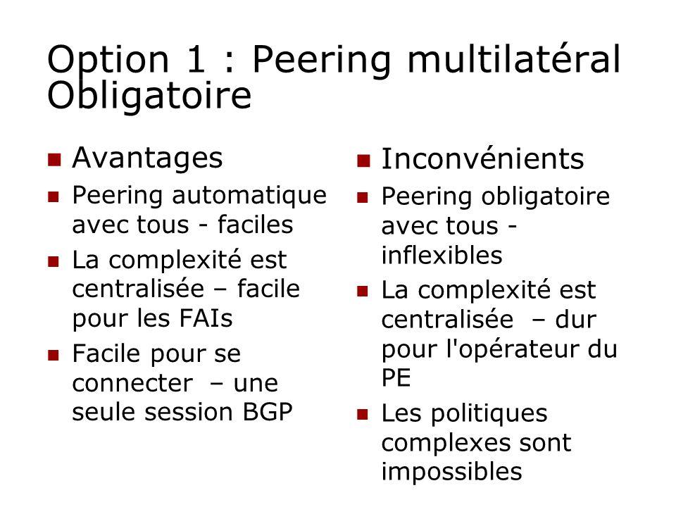 Option 1 : Peering multilatéral Obligatoire