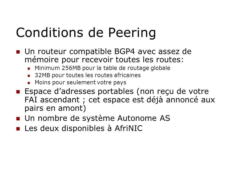 Conditions de Peering Un routeur compatible BGP4 avec assez de mémoire pour recevoir toutes les routes:
