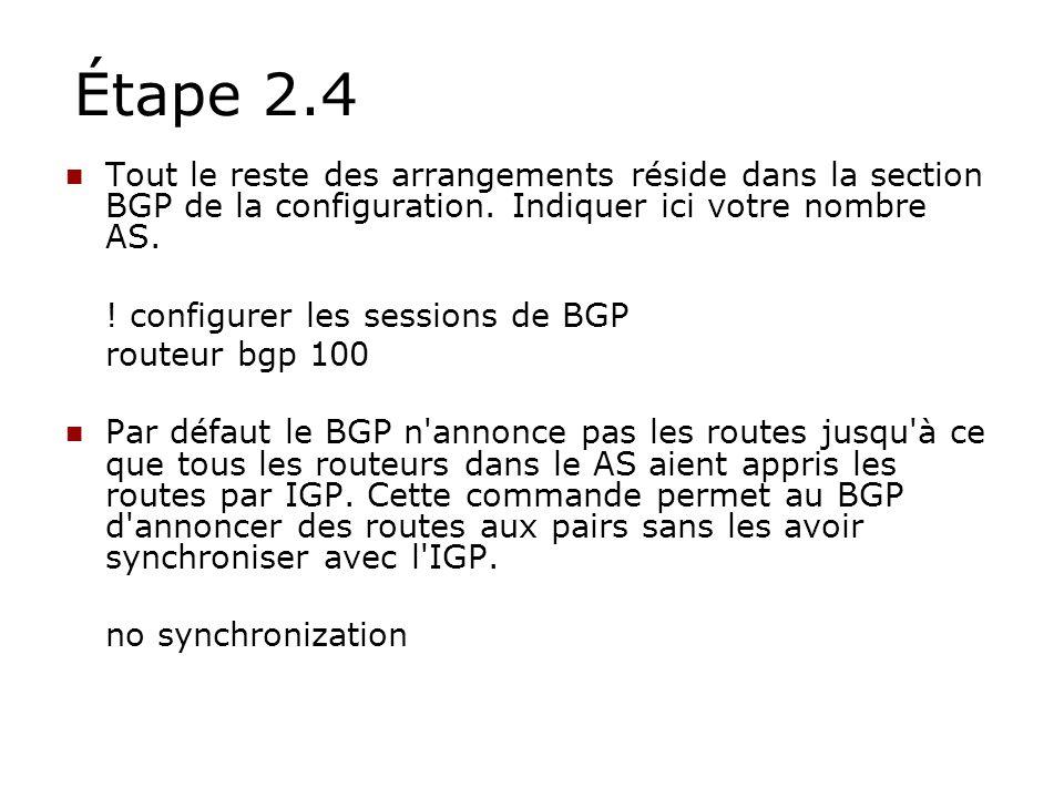 Étape 2.4 Tout le reste des arrangements réside dans la section BGP de la configuration. Indiquer ici votre nombre AS.