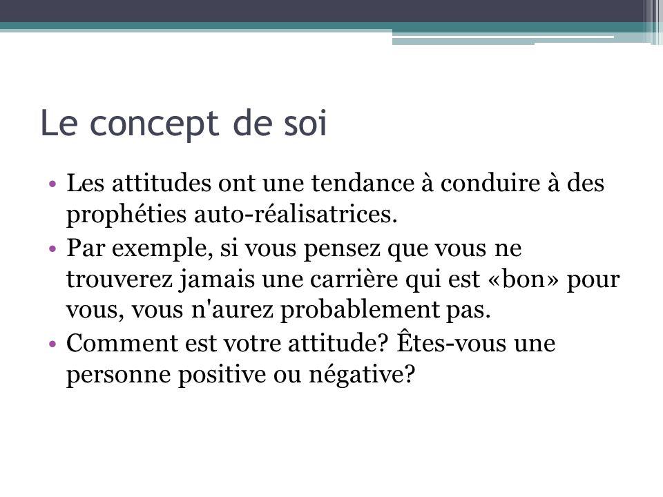 Le concept de soi Les attitudes ont une tendance à conduire à des prophéties auto-réalisatrices.