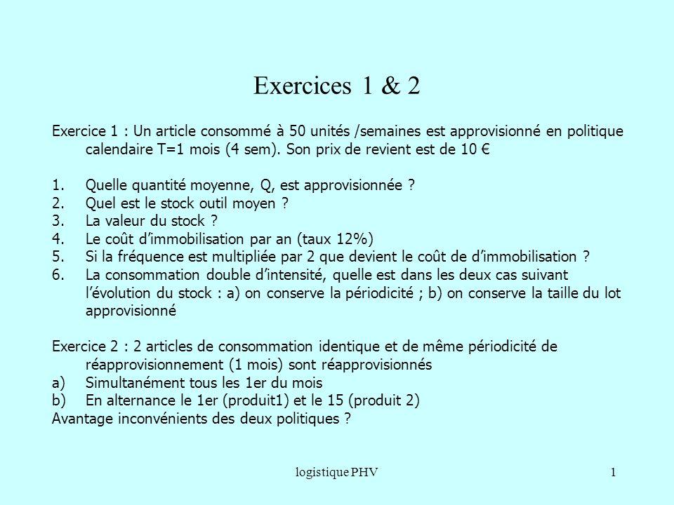 gestion en aléatoire Exercices 1 & 2.