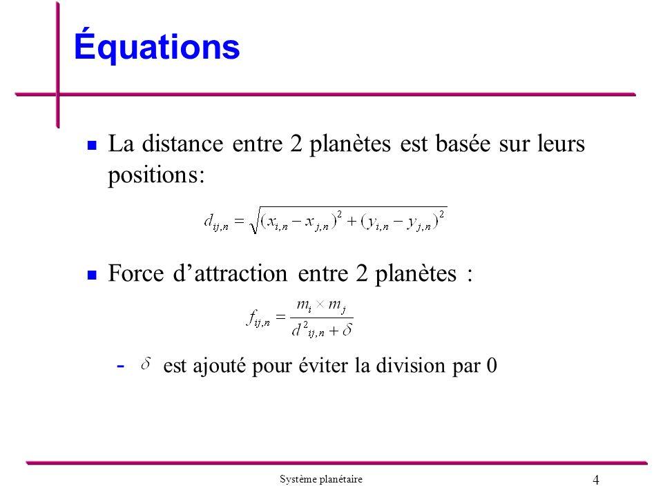 Équations La distance entre 2 planètes est basée sur leurs positions: