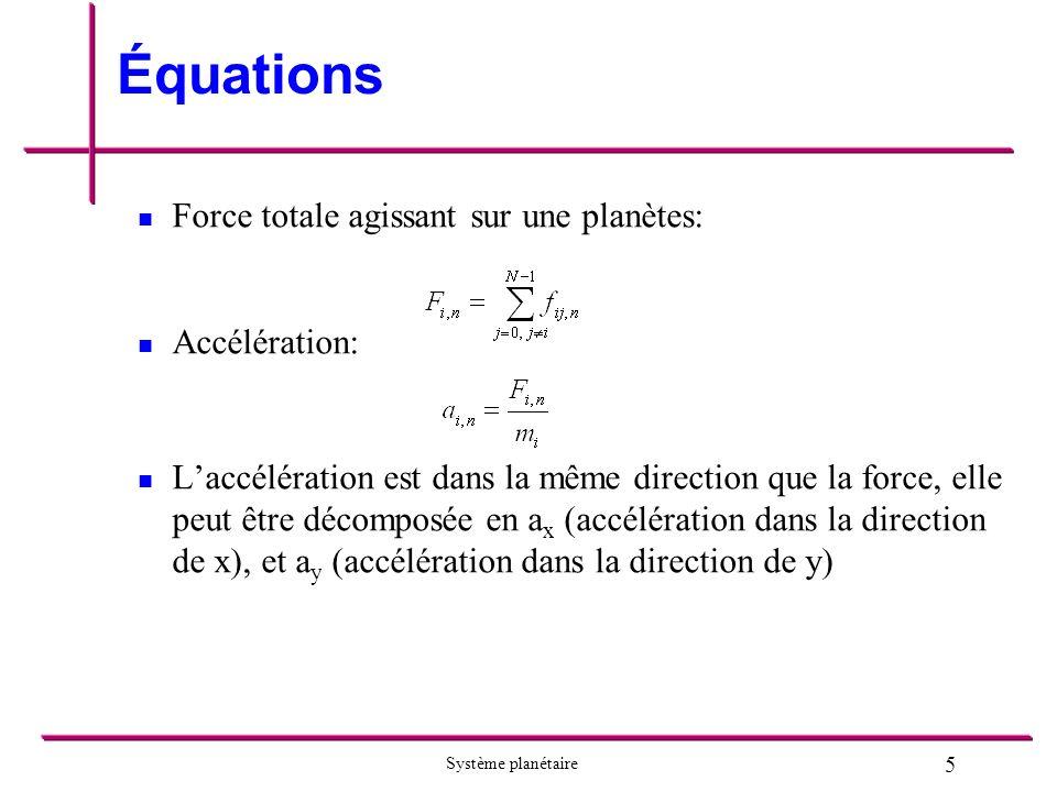 Équations Force totale agissant sur une planètes: Accélération: